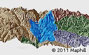 Political Panoramic Map of Luding, semi-desaturated