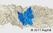 Political Panoramic Map of Luding, shaded relief outside