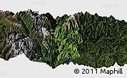 Satellite Panoramic Map of Luding, darken