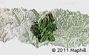 Satellite Panoramic Map of Luding, lighten