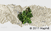 Satellite Panoramic Map of Luding, shaded relief outside