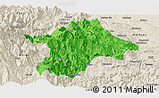 Political Panoramic Map of Mabian, shaded relief outside