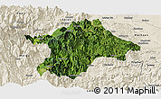 Satellite Panoramic Map of Mabian, shaded relief outside