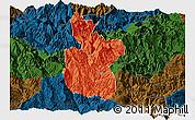 Political Panoramic Map of Meigu, darken