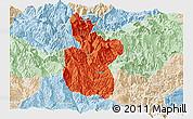 Political Panoramic Map of Meigu, lighten