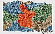Political Panoramic Map of Meigu, semi-desaturated