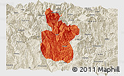 Political Panoramic Map of Meigu, shaded relief outside