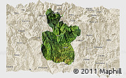 Satellite Panoramic Map of Meigu, shaded relief outside
