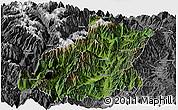 Satellite Panoramic Map of Mianning, desaturated