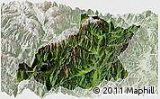 Satellite Panoramic Map of Mianning, lighten