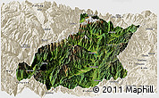 Satellite Panoramic Map of Mianning, shaded relief outside