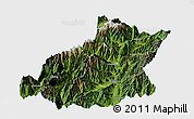 Satellite Panoramic Map of Mianning, single color outside