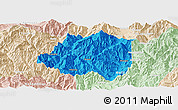 Political Panoramic Map of Miyi, lighten