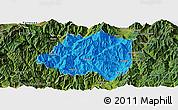 Political Panoramic Map of Miyi, satellite outside