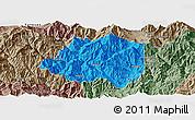Political Panoramic Map of Miyi, semi-desaturated