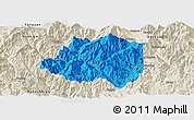 Political Panoramic Map of Miyi, shaded relief outside