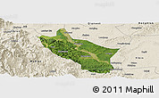 Satellite Panoramic Map of Muchuan, shaded relief outside