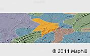 Political Panoramic Map of Nanxi, semi-desaturated