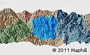 Political Panoramic Map of Ningnan, semi-desaturated