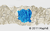 Political Panoramic Map of Ningnan, shaded relief outside