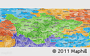 Political Shades Panoramic Map of Sichuan