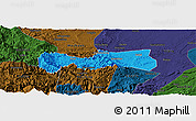 Political Panoramic Map of Pingshan, darken