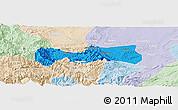 Political Panoramic Map of Pingshan, lighten