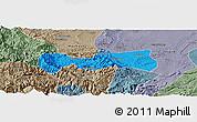 Political Panoramic Map of Pingshan, semi-desaturated