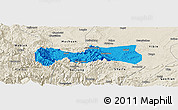 Political Panoramic Map of Pingshan, shaded relief outside