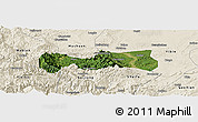Satellite Panoramic Map of Pingshan, shaded relief outside