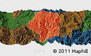 Political Panoramic Map of Puge, darken