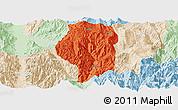 Political Panoramic Map of Puge, lighten