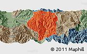 Political Panoramic Map of Puge, semi-desaturated