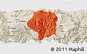 Political Panoramic Map of Puge, shaded relief outside