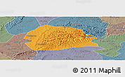Political Panoramic Map of Rong Xian, semi-desaturated