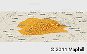 Political Panoramic Map of Rong Xian, shaded relief outside