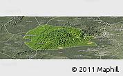 Satellite Panoramic Map of Rong Xian, semi-desaturated