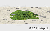 Satellite Panoramic Map of Rong Xian, shaded relief outside