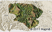 Satellite Panoramic Map of Xiangcheng, shaded relief outside