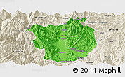 Political Panoramic Map of Xichang, shaded relief outside