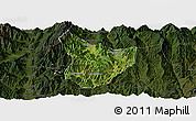 Satellite Panoramic Map of Xide, darken