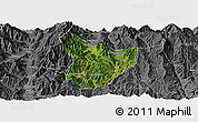 Satellite Panoramic Map of Xide, desaturated