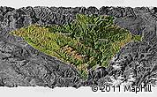 Satellite Panoramic Map of Yajiang, desaturated