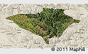 Satellite Panoramic Map of Yajiang, shaded relief outside