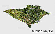 Satellite Panoramic Map of Yajiang, single color outside