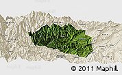 Satellite Panoramic Map of Yingjing, shaded relief outside