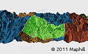 Political Panoramic Map of Yuexi, darken