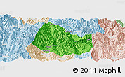Political Panoramic Map of Yuexi, lighten