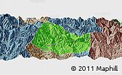 Political Panoramic Map of Yuexi, semi-desaturated