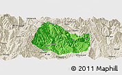Political Panoramic Map of Yuexi, shaded relief outside